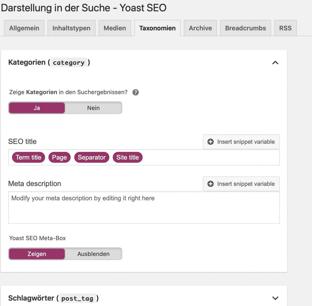Yoast SEO Darstellung in der Suche Screenshot